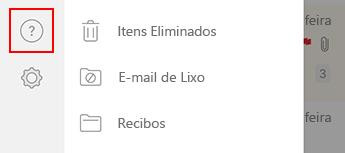 Imagem do painel de navegação esquerdo no Outlook para iOS.