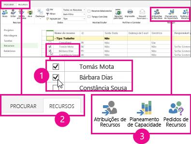 Selecione o Planeamento de Capacidade no separador Recursos