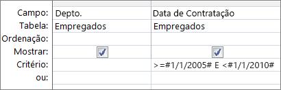 Estes critérios de datas funcionam
