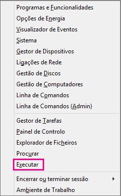 Comando Executar depois de clicar com o botão direito do rato no Windows 8 e Windows 10