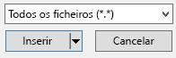 """O filtro tipo de ficheiro na caixa de diálogo inserir vídeo tem uma opção """"todos os ficheiros""""."""