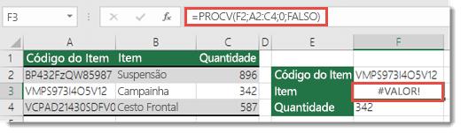 O erro #VALOR! é apresentado quando o argumento núm_índice_coluna é inferior a 1
