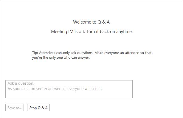 Ecrã de boas-vindas das perguntas e respostas