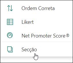 Opção nova secção no Microsoft Forms