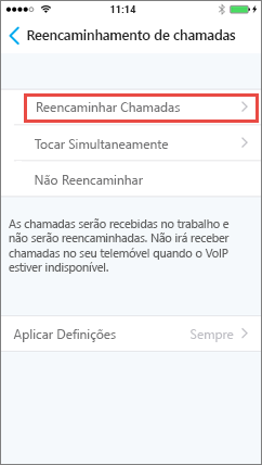 Ecrã de reencaminhamento de chamadas do Skype para Empresas para iOS