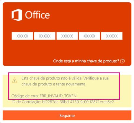Código de erro apresentado ao introduzir uma chave de produto incorreta em http://office.com/setup.