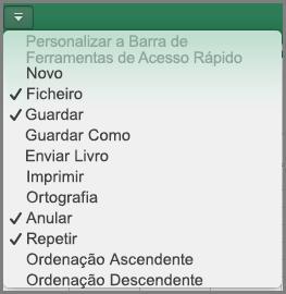 Menu Personalizar a Barra de Ferramentas de Acesso Rápido do Office 2016 para Mac