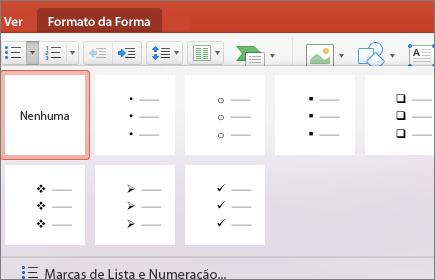 Captura de ecrã a mostrar os estilos de marcas disponíveis ao selecionar a seta no botão Marcas