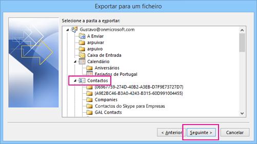 Desloque para cima e, em seguida, selecione a pasta de contactos que pretende exportar.