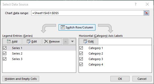 Apresenta a caixa de diálogo Selecionar Dados no PowerPoint