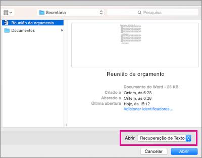 Na caixa de diálogo Abrir, junto a Abrir, está realçada a opção Recuperar Texto