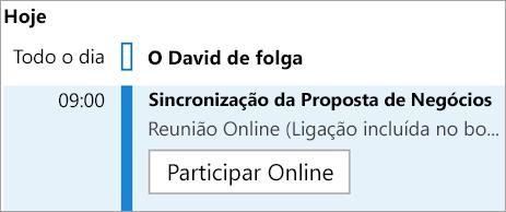 Mostra botão Participar Online para reuniões