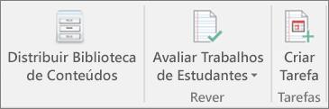 Linha de ícones a apresentar o botão Distribuir Biblioteca de Conteúdos.