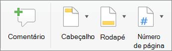 No separador Inserir, clique em cabeçalho ou rodapé