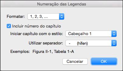 Adicionar números de capítulo automaticamente a sua legendas no Word