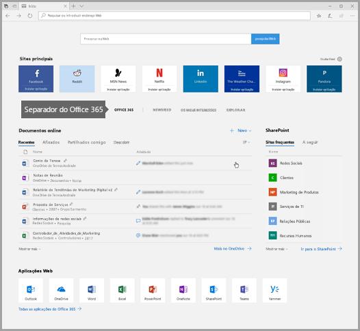 Captura de ecrã do Microsoft Edge com o separador do Office 365