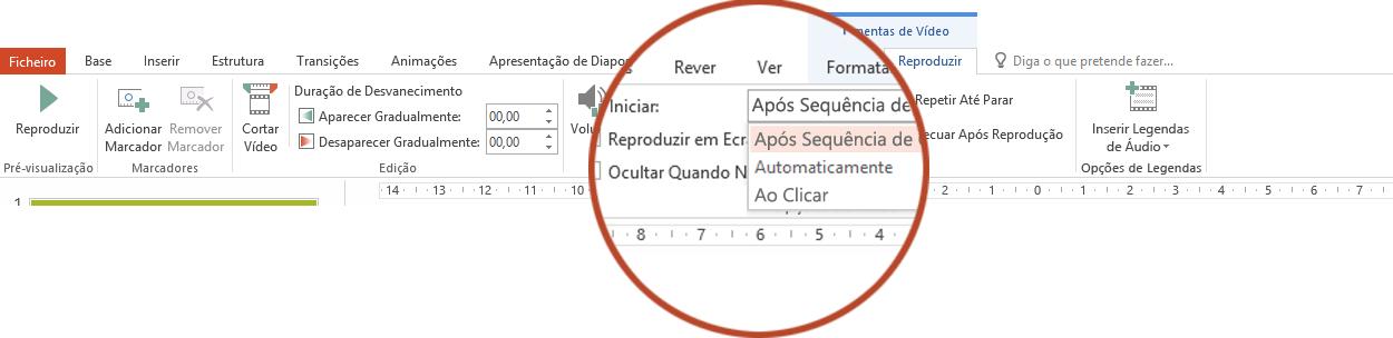 As opções de reprodução de um vídeo do seu PC são: Após Sequência de Cliques, Automaticamente ou Ao Clicar
