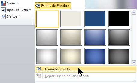 Na extremidade direita do separador Estrutura, selecione Estilos de Fundo e, em seguida, selecione Formatar Fundo