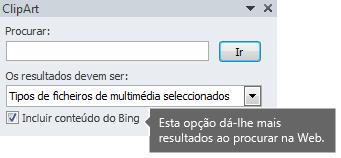 Ativar a opção Incluir Conteúdo do Bing fornece-lhe mais resultados de pesquisa que pode escolher.