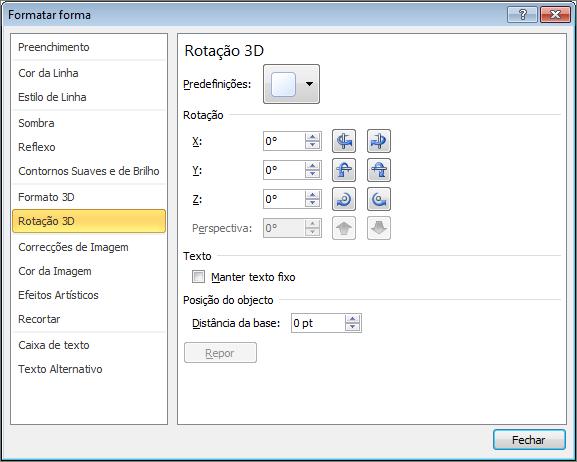 Rotação 3D na caixa de diálogo Formatar Forma