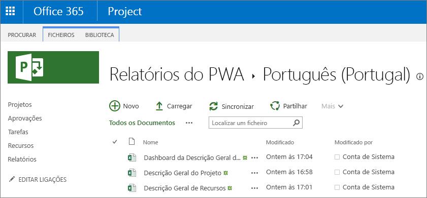 Na página relatórios do PWA, selecione o seu idioma.