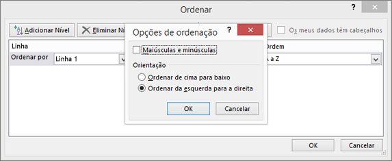 Na caixa de diálogo Opções de Ordenação, clique em Ordenar da Esquerda para a Direita