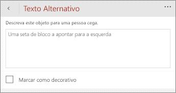 Caixa de diálogo texto alternativo para formas no PowerPoint para telemóveis Windows.