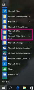 Office 2010 e Office 2013 na lista Todos os Programas