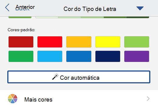 Seleção automática de cores de fonte no Word for iOS.