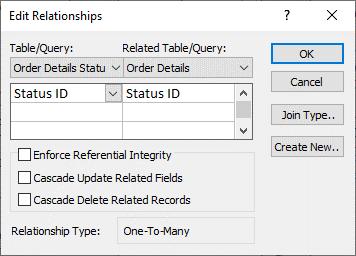 Caixa de diálogo Editar Relações com uma relação existente