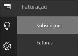 Captura de ecrã do menu Faturação no novo Centro de Administração do Office 365 com a opção Subscrições selecionada.