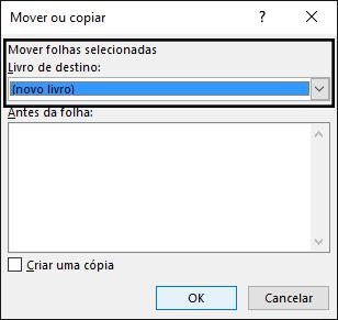 A caixa de diálogo Mover ou copiar