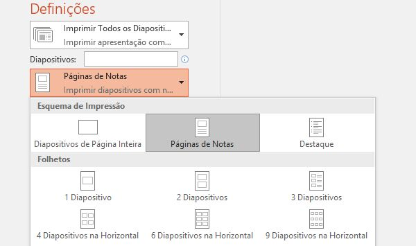 captura de ecrã da opção imprimir notas