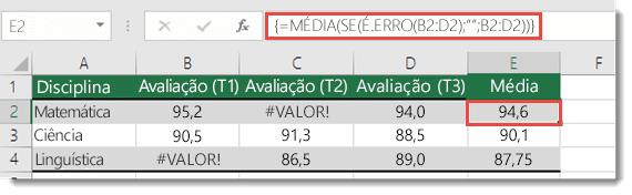 Função de matriz em MÉDIA para resolver o #VALUE! erro