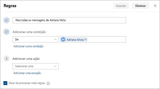 Uma captura de tela da página de configurações de regras