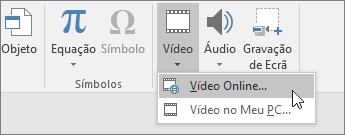 Adicionar vídeo aos seus diapositivos