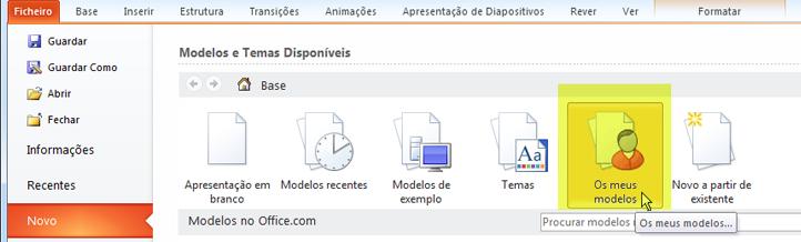 No separador ficheiro da faixa de opções, selecione novo e, em seguida, selecione o botão os meus modelos.