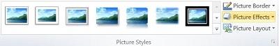 Grupo Estilos de Imagem no separador Formatar das Ferramentas de Imagem