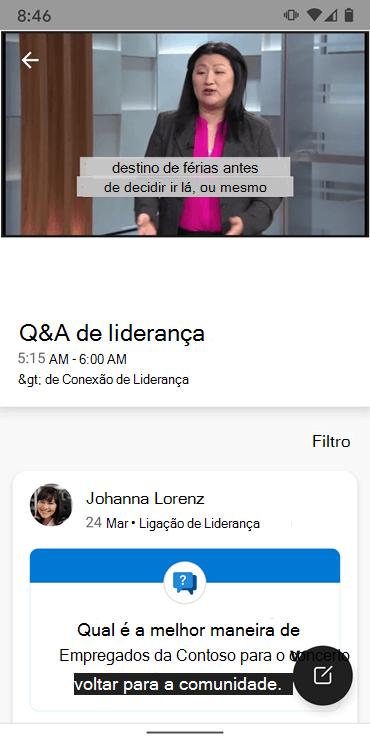 Screenshot mostrando sessão de perguntas e respostas com líderes na aplicação Yammer Android