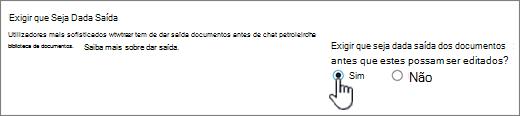 Definições Diálogo com Sim destacado em Requerer documentos a serem verificados para serem editados