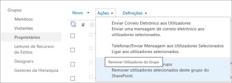 Vista da barra de Iniciação Rápida com grupos e o menu Ações aberto com a opção Remover Utilizadores do Grupo selecionada.