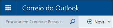 Uma captura de ecrã a mostrar o canto superior esquerdo da caixa de correio do Outlook.com clássico