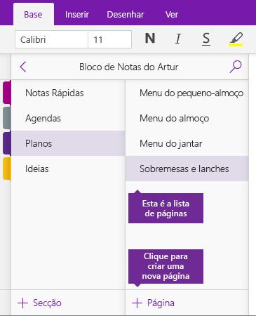 Captura de ecrã a mostrar o botão Adicionar Página no OneNote