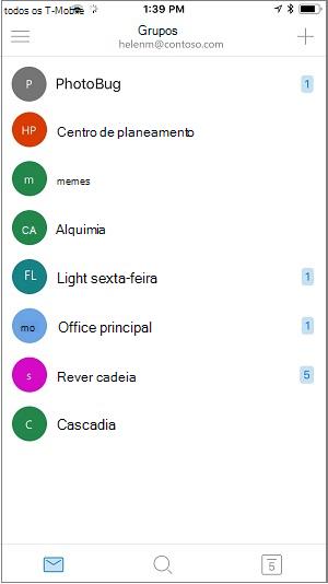 Ecrã principal da aplicação móvel de grupos
