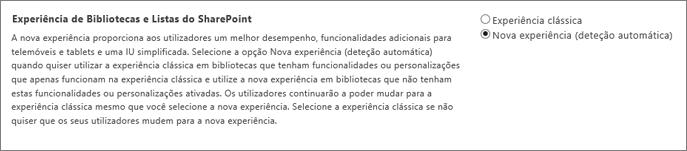 Definição para a experiência de Listas e Biblioteca predefinida