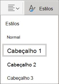 Opções Estilos de título no OneNote Online.