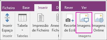 Captura de ecrã do botão Inserir Imagens no OneNote 2016.