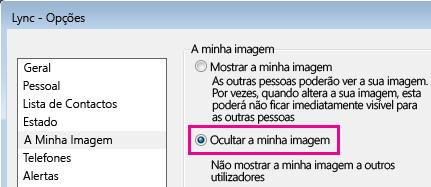 Captura de ecrã da secção da caixa de diálogo Opções de A Minha Imagem com Ocultar A Minha Imagem selecionado