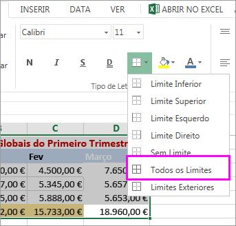 adicionar um limite a uma tabela ou intervalo de dados