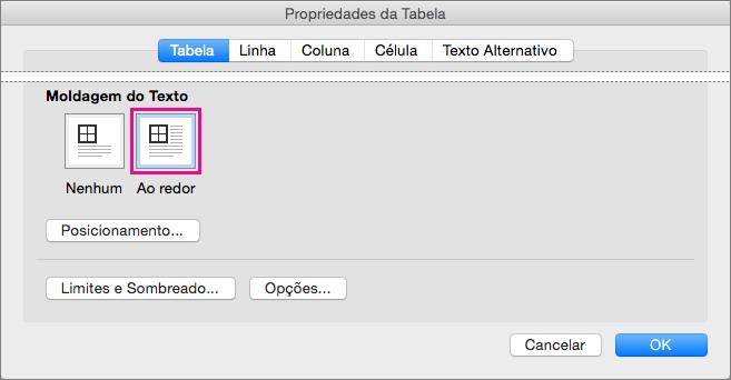 Clique em Ao redor para que o texto seja moldado à volta da tabela selecionada.